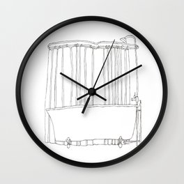 Bath In White Wall Clock