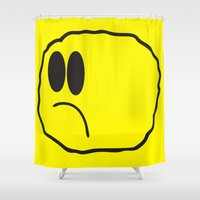 coldplay Shower Curtains featuring Lonely Meatball - Yellow by kiwimonk