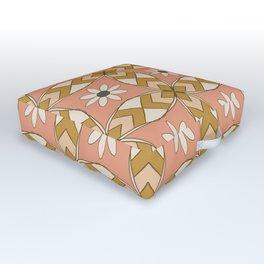 Bold Midcentury Tile Pink Outdoor Floor Cushion