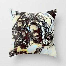 Metal Paper Skull Throw Pillow