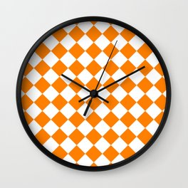 Diamonds - White and Orange Wall Clock