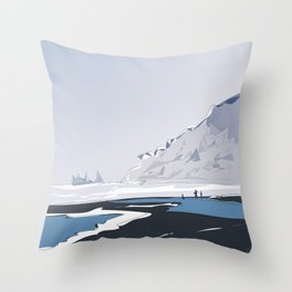 Vik Reynisfjara Black Sand Beach, Iceland Travel Poster Throw Pillow