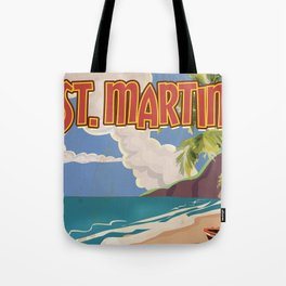 St Martin vintage vacation travel poster Tote Bag