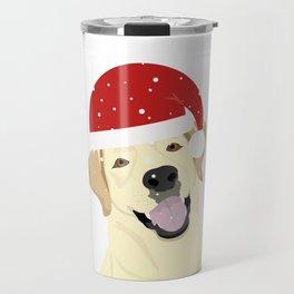 Christmas Dog in Santa Hat Labrador Retriever Travel Mug