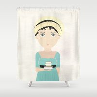 jane austen Shower Curtains featuring Jane Austen by Creo tu mundo