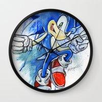 sonic Wall Clocks featuring Sonic by Luke Jonathon Fielding