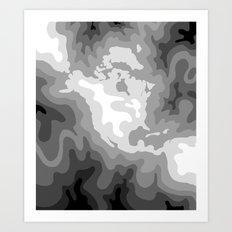 Map of North and Central America : WHITEOUT Art Print