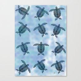 Turquoise Blue Sea Turtle Pattern  Canvas Print