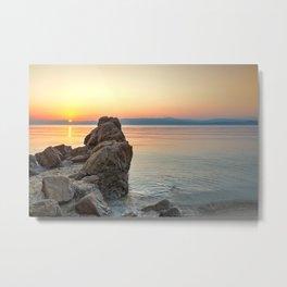 The sunset at the beach Agia Eleni of Skiathos island, Greece Metal Print
