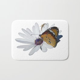 White Daisy and Meadow Brown Butterfly Vector Bath Mat
