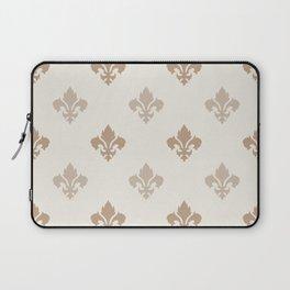 Fleur de lis Pattern – Neutral Brown and Biege Earth Tones Laptop Sleeve
