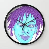 wiz khalifa Wall Clocks featuring WIZ by Mitch Meseke