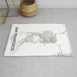 Minimal City Maps - Map Of San Francisco, California, United States Rug
