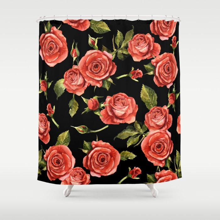 Vintage Red Roses On Black Shower Curtain by context ...