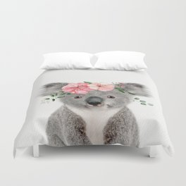 Baby Koala with Flower Crown Duvet Cover