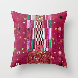 "Gustav Klimt ""Stoclet Frieze - design"" burgundy red Throw Pillow"