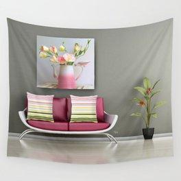 Coffee, Tea or Flowers Vignette Wall Tapestry