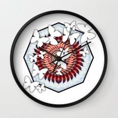 White butterflies on mandala Wall Clock