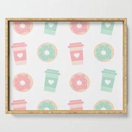 cute colorful donuts and coffee pattern background illustration Serving Tray