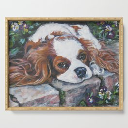 Beautiful Blenheim Cavalier King Charles Spaniel Dog Art Painting by LA.Shepard Serving Tray