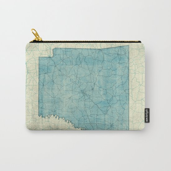 Arkansas State Map Blue Vintage Carry-All Pouch