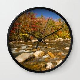 I - River through fall foliage, Swift River, New Hampshire, USA Wall Clock