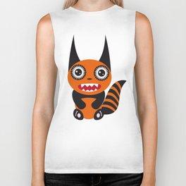 Funny orange monster Biker Tank