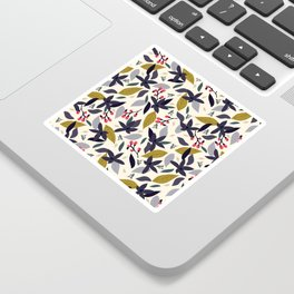 Spring blossom - dark flowers and pink buds Sticker