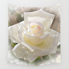 White Rose Bloom In Watercolor Wall Tapestry