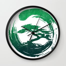 Green Bonsai in Enso Wall Clock