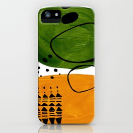 Modern Mid Century Fun Colorful Abstract Minimalist Painting Olive Green Yellow Ochre Buns iPhone Case