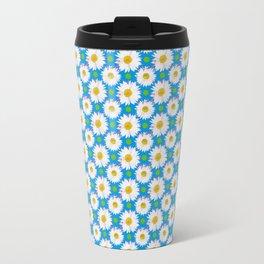 Daisies and Polka Dots on Blue Travel Mug
