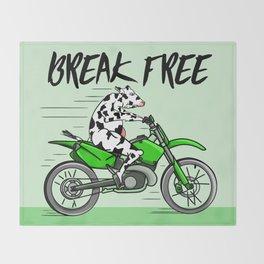 Cow riding a motorbike Throw Blanket