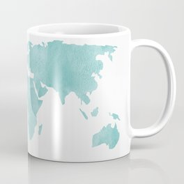 World Map - Teal Turquoise Watercolor on White Coffee Mug
