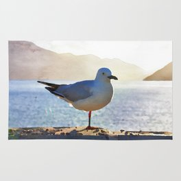 Seagull watercolor painting Rug