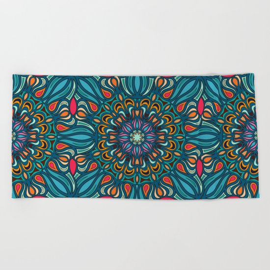 Colorful abstract ethnic floral mandala pattern design Beach Towel