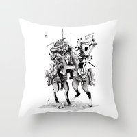 samurai Throw Pillows featuring Samurai! by HELLLOJOJO