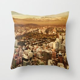 Santiago de Chile Aerial View from San Cristobal Hill Throw Pillow