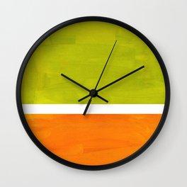 Retro Lime Green Minimalist Abstract Color Block Rothko Midcentury Modern Art Wall Clock