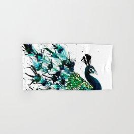 Peacock profile ink splatter Hand & Bath Towel