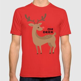 Oh Dear Rudolph Red Nosed Reindeer Funny Design T-shirt