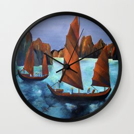 Junks In the Descending Dragon Bay Wall Clock