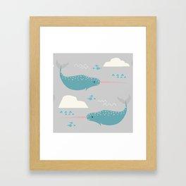 Narwhal grey Framed Art Print