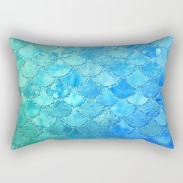 Summer Dream Colorful Trendy Mermaid Scales Rectangular Pillow