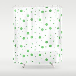 Beautiful White Green Forest Circle Elements Shower Curtain