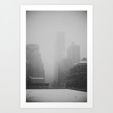 Snow Falling in the City Art Print