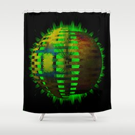 Yellow Layered Star in Green Flames Shower Curtain