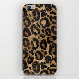 Golden and Black glitter  Leopard/ Jaguar print iPhone Skin