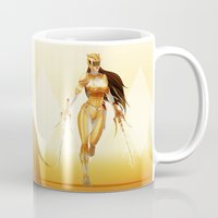 power ranger Mugs featuring Yellow Ranger by Isaiah K. Stephens