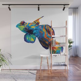 Geometric Abstract Mandarin Dragonette Goby Wall Mural